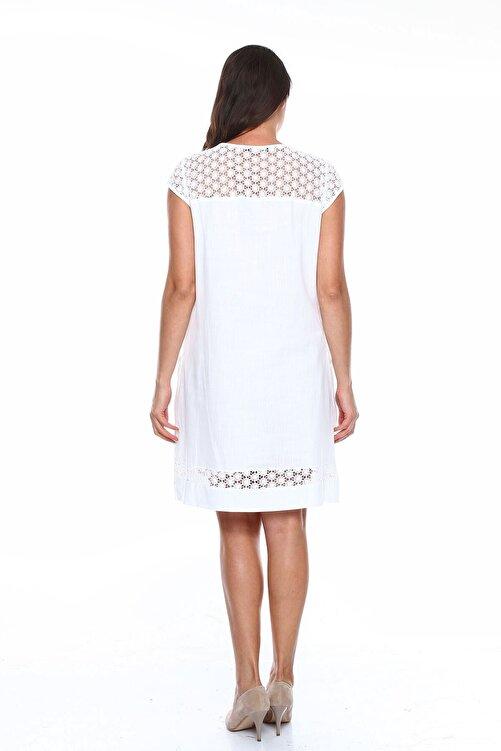 Zer Otantik Güpürlü Büyük Beden Elbise Beyaz 2