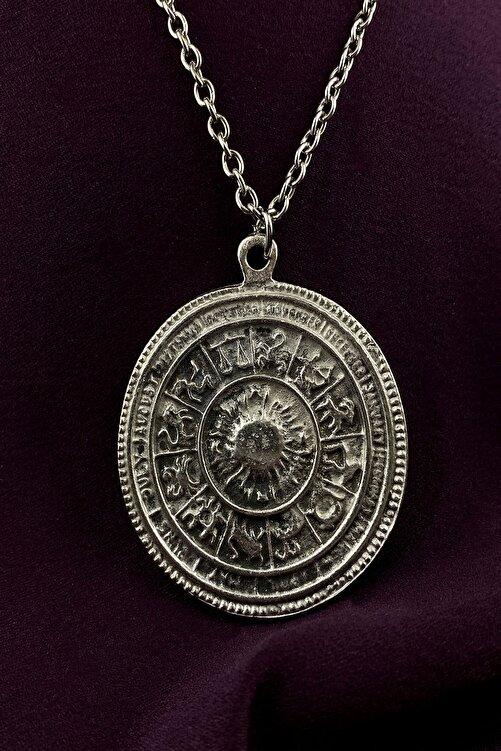 MOONİ ACCESSORİES Maya Takvimi Burçlar Gümüş Kaplama Zincir Kolye 2