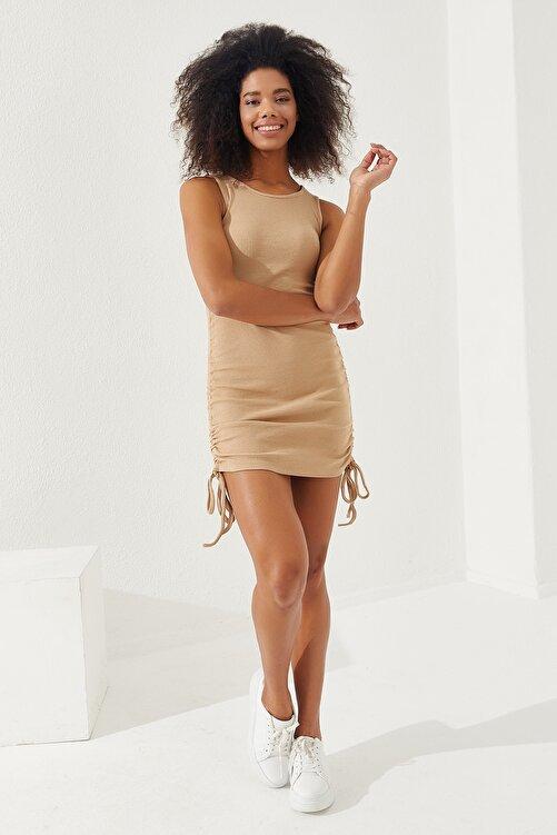 Reyon Kadın Taş Yanları Büzgülü Sıfır Kol Elbise 2