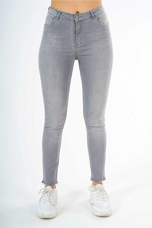 FINGER PRINT - Kadın Gri Paçası Püsküllü Dar Kesim Denim Pantolon 2