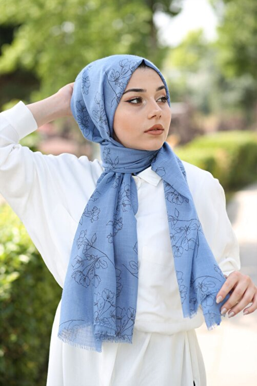 AFVENTE Floral Desen Şal Kot Mavi 1