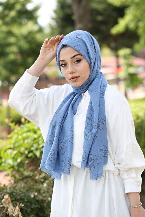 AFVENTE Floral Desen Şal Kot Mavi 2