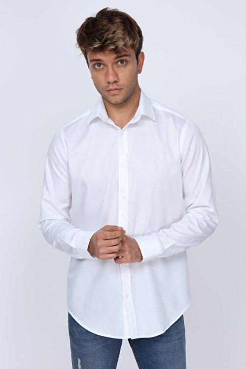 Abbate Kumaş Detaylı Slim Fit Beyaz Erkek Gömlek 1