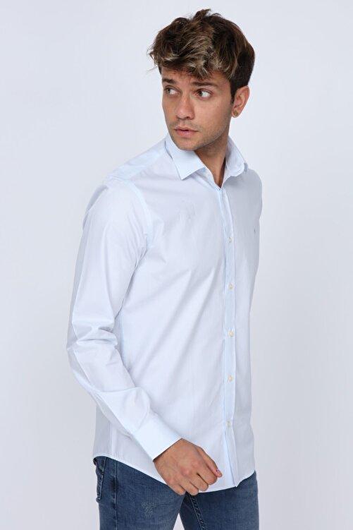 Abbate Slim Fit Buz Mavi Erkek Gömlek (mikro Kumaş Detay) 2