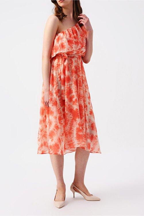 RANDOM Kadın Üzeri Fırfır Detaylı Beli Lastikli Tek Omuzlu Asimetrik Elbise 2
