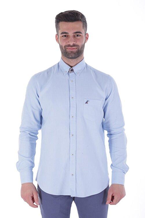 Diandor Uzun Kollu Rahat Kalıp Erkek Gömlek A.Mavi/L.Blue 1822001 1