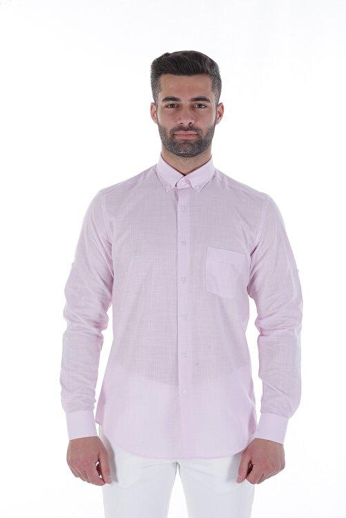 Diandor Uzun Kollu Rahat Kalıp Erkek Gömlek Pembe/Pink 1812013 1