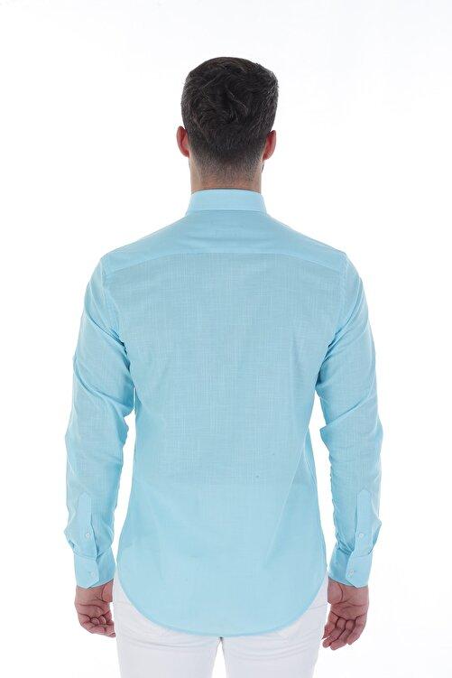 Diandor Uzun Kollu Rahat Kalıp Erkek Gömlek Turkuaz/Turquoise 1812013 2