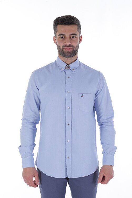 Diandor Uzun Kollu Rahat Kalıp Erkek Gömlek Mavi/Blue 1822001 1
