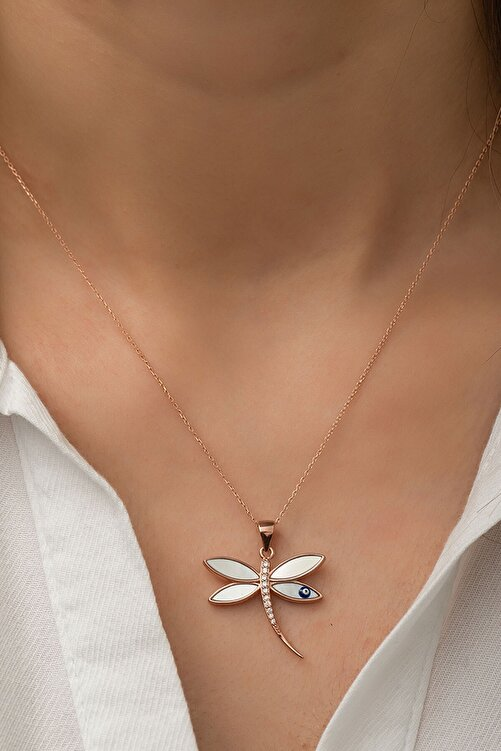 Papatya Silver 925 Ayar Rose Altın Kaplama Yusufçuk Gümüş Kolye 1