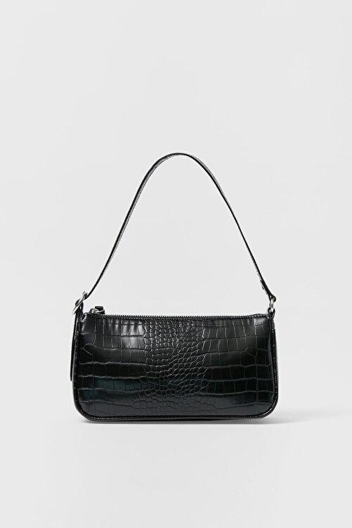 Stradivarius Kadın Siyah Timsah Derisi Görünümlü Mini Çapraz Askılı Çanta 00751011 2