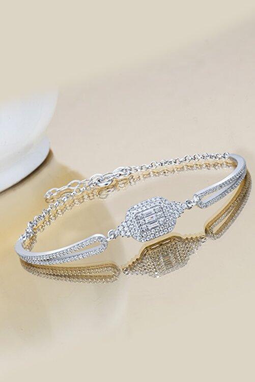 Else Silver Kadın Gümüş  Baget Taşlı Kelepçe Bileklik 1