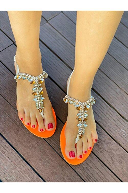 Oblavion Kadın Bej Turuncu Taşlı Sandalet 2