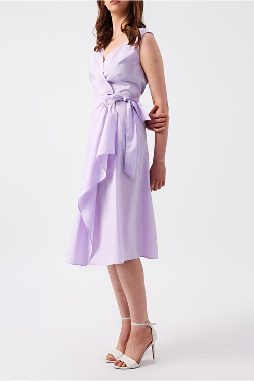 RANDOM Kadın Lila Beli Bağlamalı Kruvaze Kolsuz Midi Elbise 2