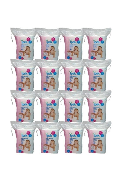 İpek Maxi Bebek Temizleme Pamuğu 60'lı x 16'lı Paket 1