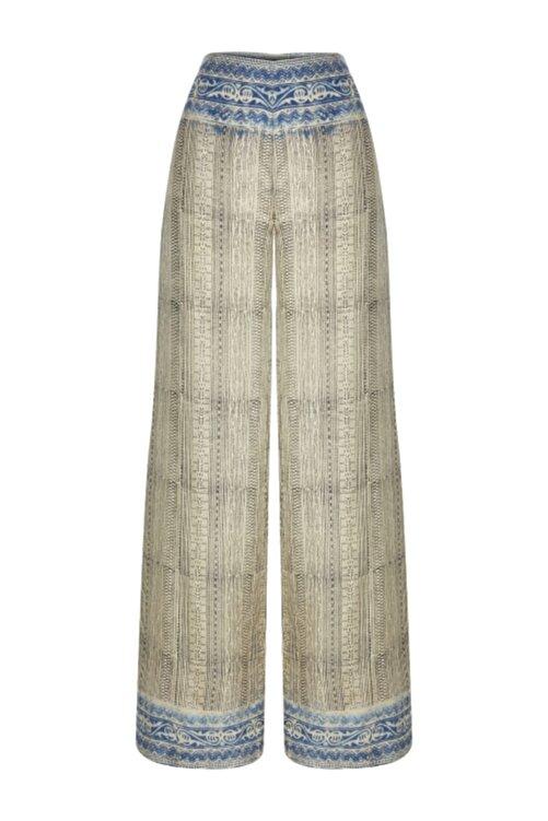 Meltem Özbek Kadın Vizon Hint Kumaşı Uzun Pantolon 1