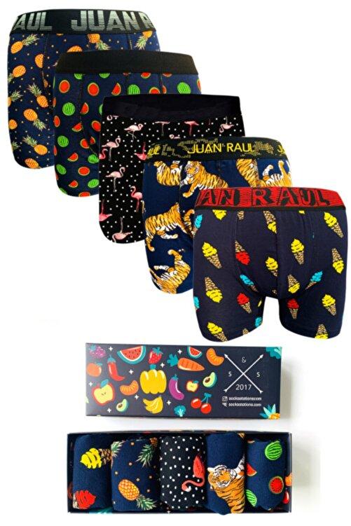 Socks Stations 5'li Boxer Kutusu Renkli Desenli Pamuk Boxer Kutusu 1