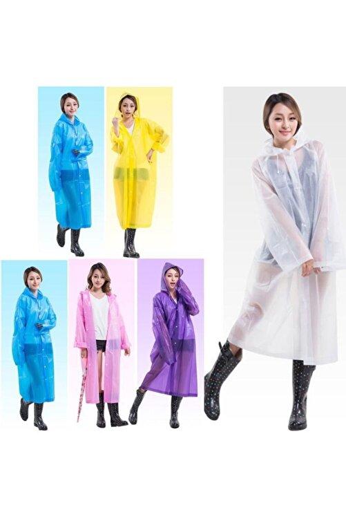 PR Unisex Beyaz Çıtçıtlı Kullan At Tek Kullanımlık Yağmurluk 5 Adet 2