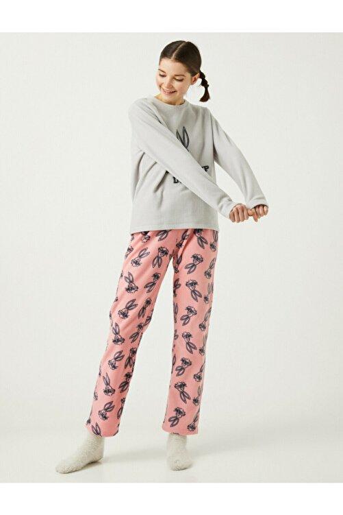 Koton Kadın Pembe Warner Bros Lisanslı Bugs Bunny Temalı Pijama Takımı 2