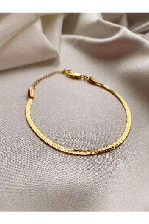 Mathilda Aksesuar Yassı Italyan Zincir Kaplama Bileklik Gold 1