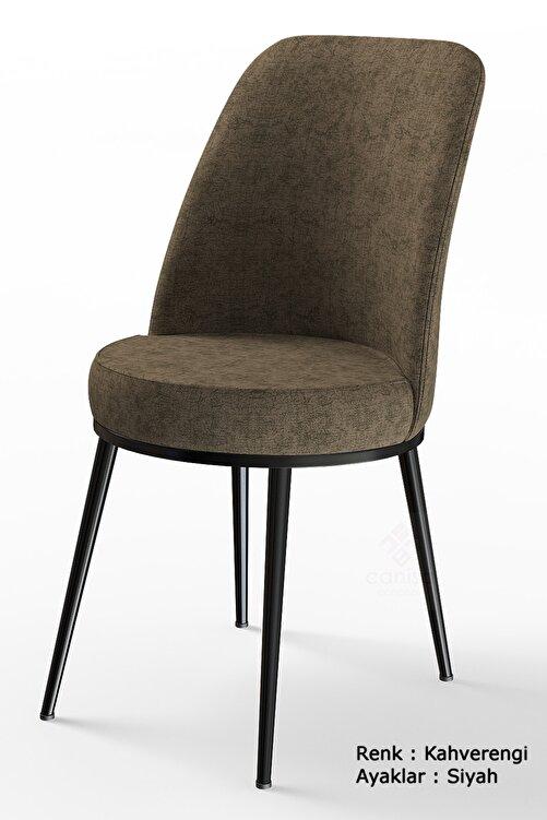 Canisa Concept Dexa Serisi Kahverengi Renk Sandalye Mutfak Sandalyesi, Yemek Sandalyesi Ayaklar Siyah 1