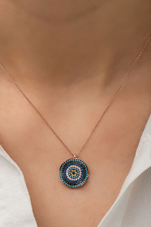 Papatya Silver 925 Rose Altın Kaplama Dalgalı Gümüş Nazar Kolye 1