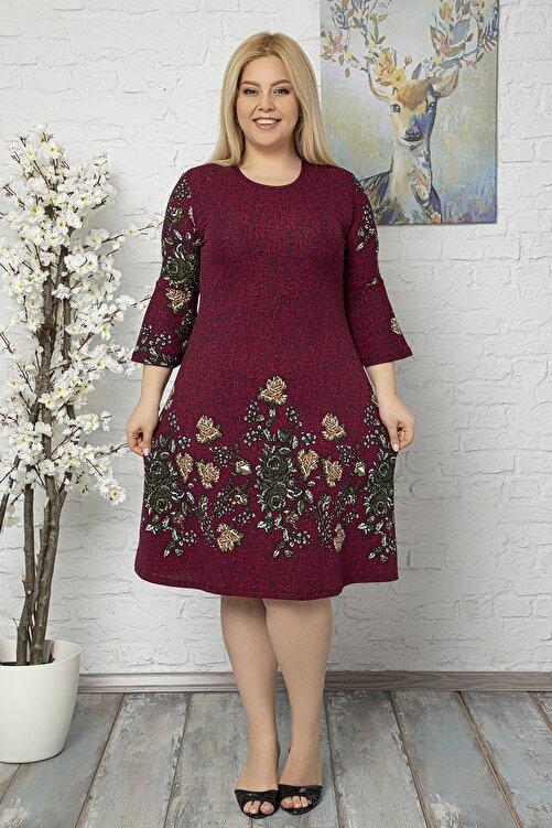 1fazlası Kadın Büyük Beden Bordo Volan Kol Krep Kumaş Elbise 1