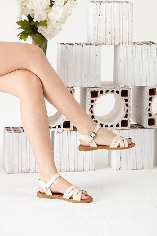 Moda Eleysa Krem Rengi Sandalet 1