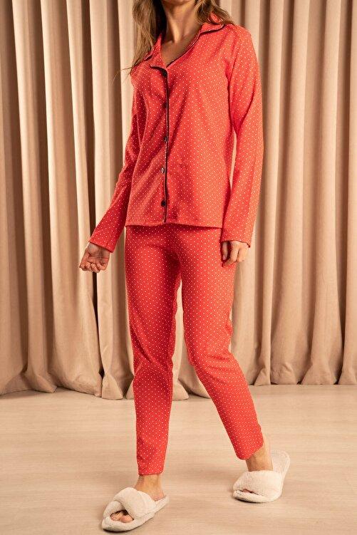Hadise Düğmeli Pijama Takımı Kırmızı 2