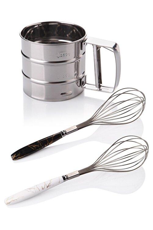 Queen's Kitchen Çelik Un Eleği Ve 2 Adet Lüx Çırpıcı 1