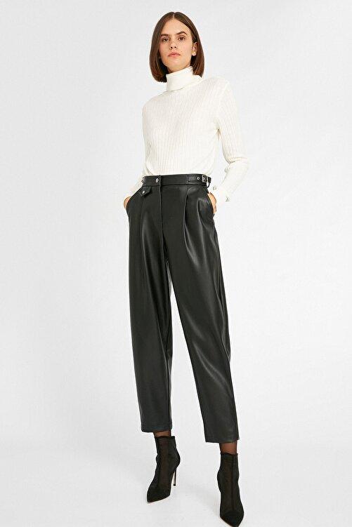 Koton Kadın Deri Görünümlü Cepli Siyah Pantolon 1kak43444ek 2