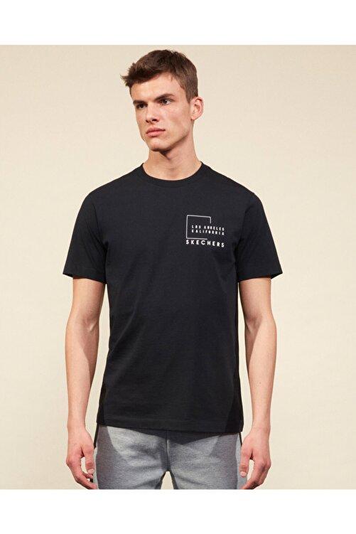 SKECHERS Graphic Tee M Crew Neck T-Shirt Erkek Siyah Tshirt 2