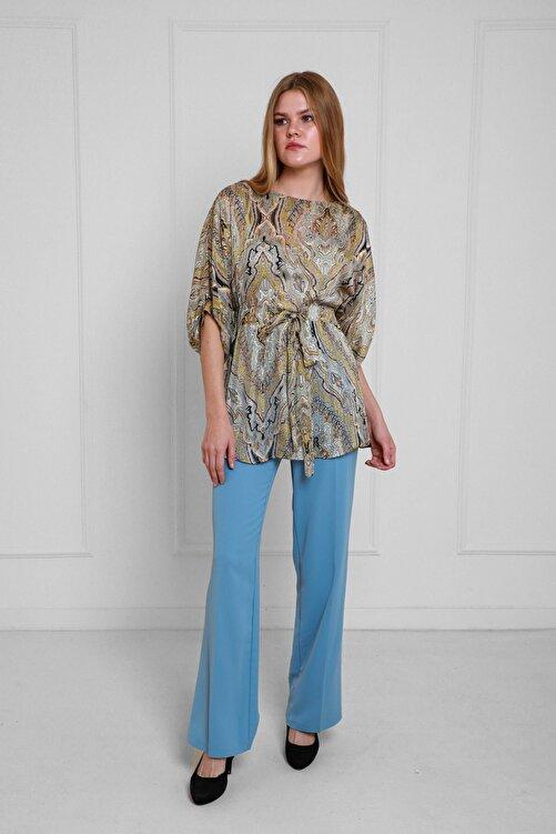 JEANNE DARC Mavi Şal Desenli Yaraşa Kol Şifon Bluz Ve Pantolonlu Set Jp36262 2