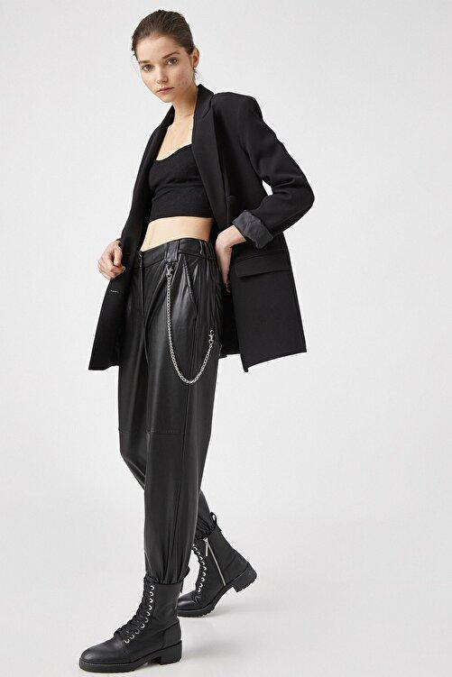Koton Kadın Suni Deri Zincir Detaylı Siyah Jogger Pantolon 1kal48365ıw 2