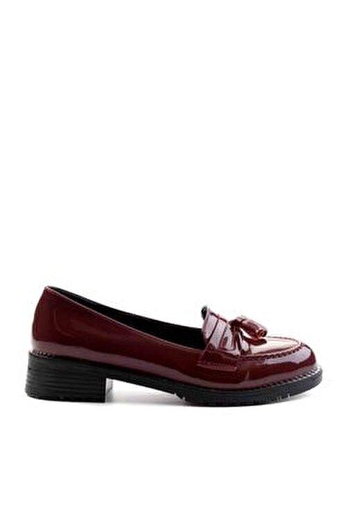 Bambi Bordo Kadın Loafer Ayakkabı M07782340 2