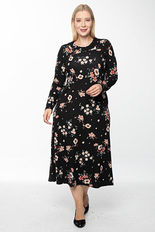 1fazlası Kadın Siyah Uzun, Küçük Gül Kurusu Baskılı Krep Elbise 1