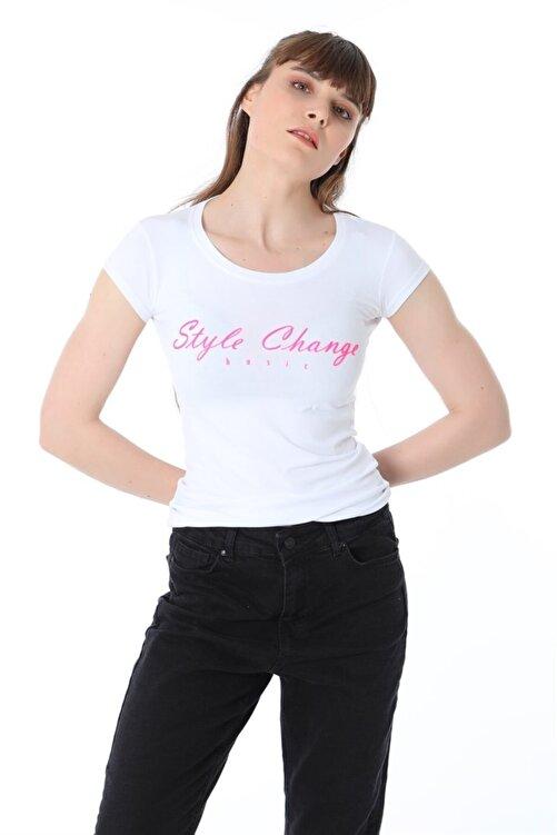 ZİNCiRMODA Style Change Baskılı Tshirt - Beyaz 1