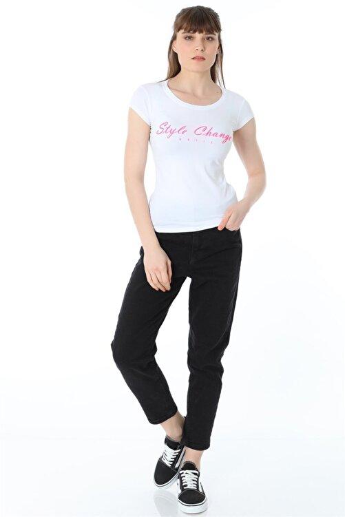 ZİNCiRMODA Style Change Baskılı Tshirt - Beyaz 2