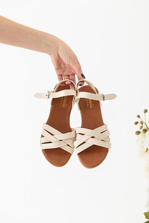 Moda Eleysa Krem Rengi Sandalet 2