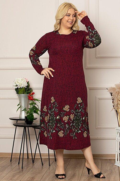 1fazlası Kadın Bordo Çiçek Desen Uzun Esnek Krep Elbise 2