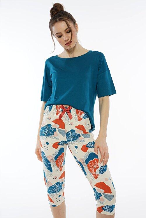 KEZOKİNO Worteks Düşük Omuzlu Kısa Kol Dantelli Kaprili Pijama Takım 1