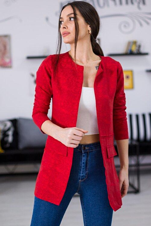 armonika Kadın Kırmızı Desenli Beli Dikişli Uzun Ceket ARM-21K001090 1