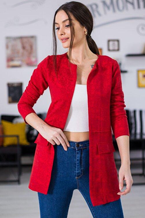 armonika Kadın Kırmızı Desenli Beli Dikişli Uzun Ceket ARM-21K001090 2