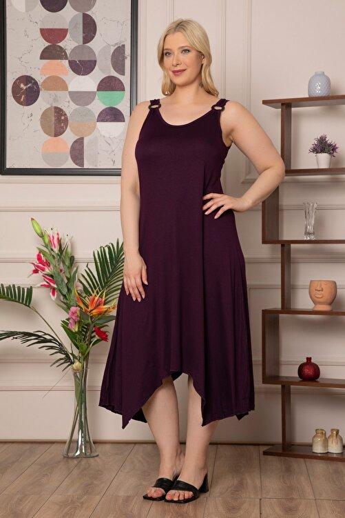 1fazlası Kadın Büyük Beden Mürdüm Genis Askılı Omzu Halka Detaylı Elbise 2