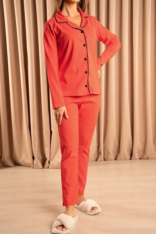 Hadise Düğmeli Pijama Takımı Kırmızı 1