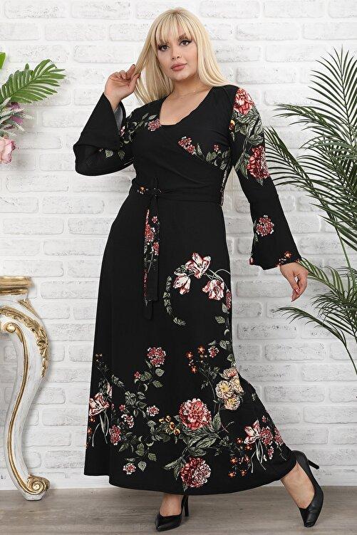 1fazlası Kadın Büyük Beden Siyah Kruvaze Yaka Volan Kol Elbise 1