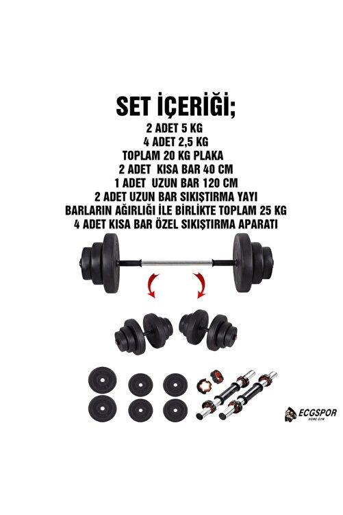 ECG 25 KG (20 Kg plaka + 5 kg bar) Halter Seti ve Dambıl Seti Ağırlık Fitness Seti 2