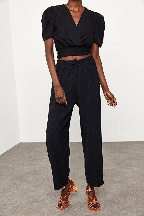 XENA Kadın Siyah Salaş Keten Pantolon 1KZK5-11605-02 2