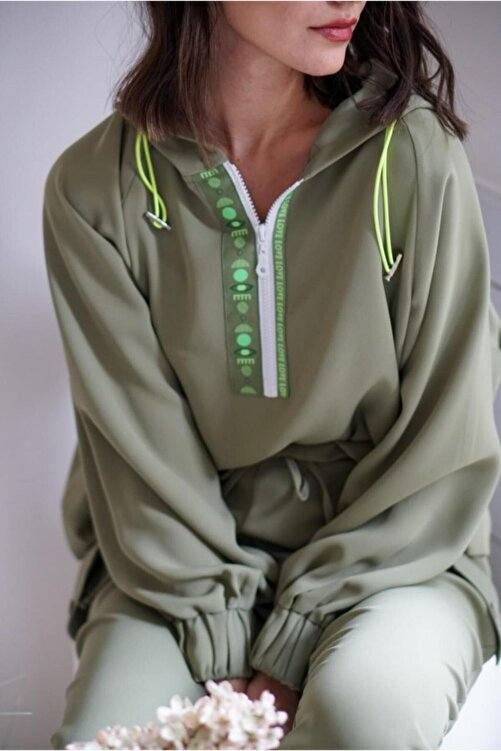 Say Kadın Robası Renkli Şeritli, Kapüşonlu Bluz 1
