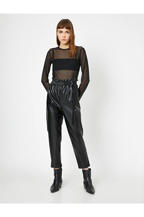 Koton Kadın Siyah Beli Büzgülü Toka Ve Kemer Detaylı Suni Deriden Pantolon 1